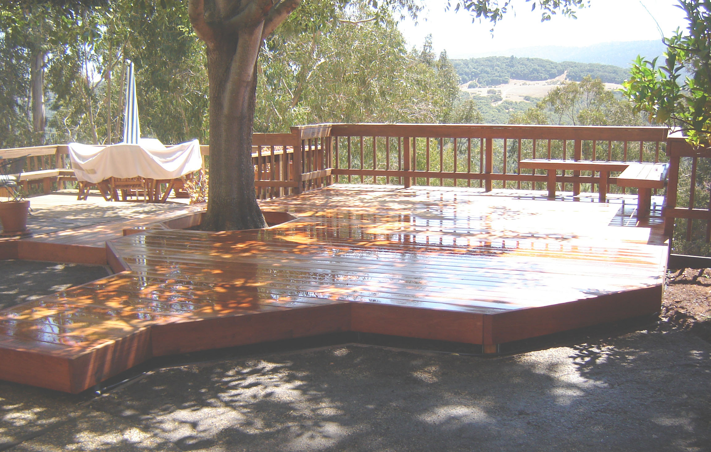 Wooden deck with beautiful craftmanship in landscaping project in Los Altos, CA