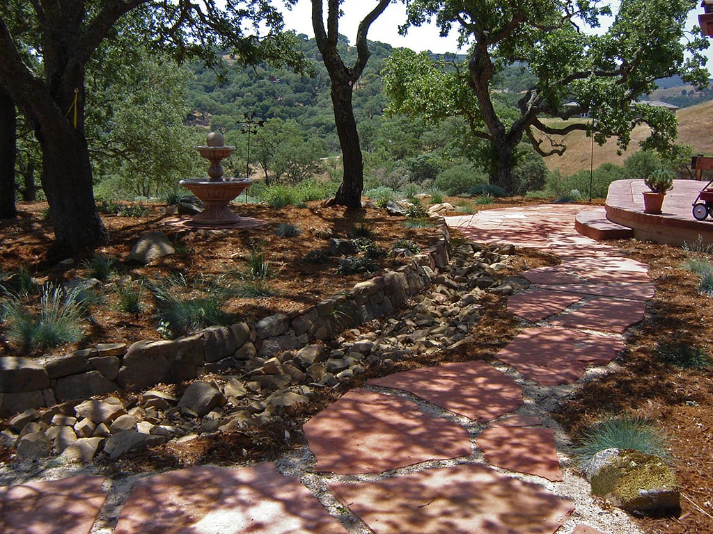 landscaping | garden | hill | water fountain | los altos hills | san francisco peninsula, CA